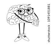 funny brain cartoon on black... | Shutterstock .eps vector #1091451881