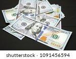 dollars money cash on black... | Shutterstock . vector #1091456594