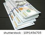 dollars money cash on black... | Shutterstock . vector #1091456705