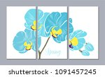 a set of 3 canvases for wall... | Shutterstock .eps vector #1091457245