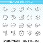 weather thin line icons set.... | Shutterstock .eps vector #1091460551