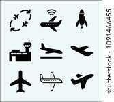 plane related set of 9 icons... | Shutterstock .eps vector #1091466455