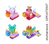 girls and boys gifts. colorful... | Shutterstock .eps vector #1091473547