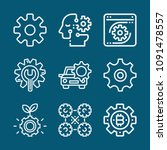 set of 9 gear outline icons... | Shutterstock .eps vector #1091478557