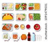 takeaway meals assortment.... | Shutterstock .eps vector #1091479031