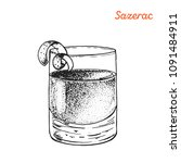 sazerac cocktail illustration.... | Shutterstock .eps vector #1091484911