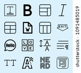 outline set of 16 word icons... | Shutterstock .eps vector #1091485019