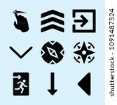 filled set of 9 direction icons ... | Shutterstock .eps vector #1091487524