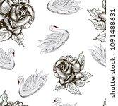 white swans  monochrome rose... | Shutterstock . vector #1091488631