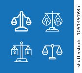 outline set of 4 justice icons... | Shutterstock .eps vector #1091494985