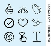 outline set of 9 shapes icons... | Shutterstock .eps vector #1091495099
