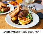 vegetarian dinner with nut...   Shutterstock . vector #1091500754