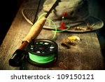 fly fishing equipment with old... | Shutterstock . vector #109150121