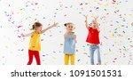 happy children on holidays have ... | Shutterstock . vector #1091501531