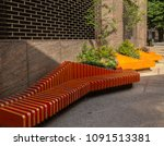 modern road side seating benches   Shutterstock . vector #1091513381