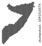 hex tile somalia map. vector... | Shutterstock .eps vector #1091515574
