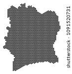honeycomb ivory coast map.... | Shutterstock .eps vector #1091520731