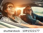 Stock photo happy family ride in the car 1091522177