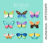 butterfly collection... | Shutterstock .eps vector #1091532695