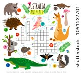 australian animals crossword.... | Shutterstock .eps vector #1091532701