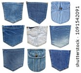 Small photo of Jeans pocket isolated on white. Set of different jeans pocket. Isolated on white denim collection