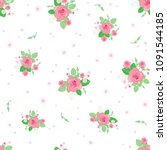 pink green roses ditsy vintage... | Shutterstock .eps vector #1091544185