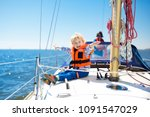 kids sail on yacht in sea.... | Shutterstock . vector #1091547029