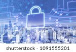 digital lock icon on city... | Shutterstock . vector #1091555201
