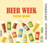 beer week flat poster with... | Shutterstock .eps vector #1091569061