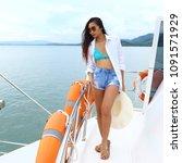 asian mix race tanned skin... | Shutterstock . vector #1091571929