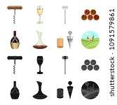 a bottle of wine in a basket  a ... | Shutterstock .eps vector #1091579861