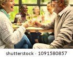 senior friends having fun at a...   Shutterstock . vector #1091580857