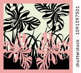silk scarf design with plants...   Shutterstock .eps vector #1091597501