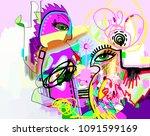 original digital contemporary... | Shutterstock . vector #1091599169