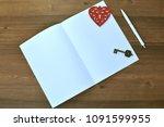 empty sheet of paper  pen ... | Shutterstock . vector #1091599955