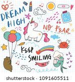 various cute doodle element | Shutterstock .eps vector #1091605511