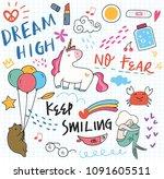 various cute doodle element | Shutterstock .eps vector #1091605511