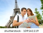 tourists using electronic... | Shutterstock . vector #109161119