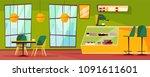 cafeteria interior vector...   Shutterstock .eps vector #1091611601