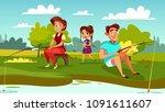 family fishing vector... | Shutterstock .eps vector #1091611607