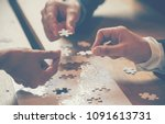 Small photo of Implement puzzle improve communication solve synergy organize team building connection plan trust service strategy. Stakeholders business trusted communicate teams hands holding jigsaw puzzle synergy