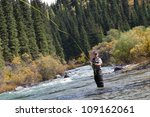 fly fishing angler makes cast... | Shutterstock . vector #109162061