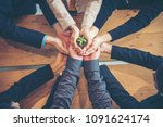 sustainable collaboration green ... | Shutterstock . vector #1091624174