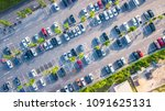 aerial view  parking lot and car | Shutterstock . vector #1091625131