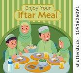 muslim family blessing ramadan... | Shutterstock .eps vector #1091626091
