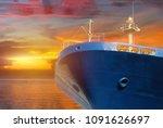 cargo ship forward on sunlight... | Shutterstock . vector #1091626697