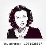 vivien leigh vector sketch... | Shutterstock .eps vector #1091628917