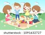cute cartoon family feel happy... | Shutterstock .eps vector #1091632727