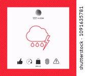 cloud thunderstorm lightning... | Shutterstock .eps vector #1091635781