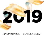 2019 happy new year logo design.... | Shutterstock .eps vector #1091642189